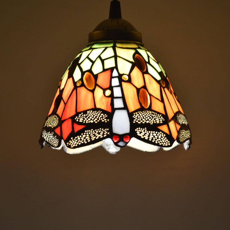 Tiffany Pendant Light Stained Glass Dragonfly Country Style Dining Room Decor Hanging Lamp E27 110-240V<br>