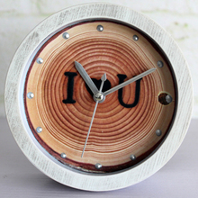 Pastoralism Retro Tree Annual Ring Round Wooden Desk Clock Table Clock Lovely Gift Rivet Alarm Clock Non-ticking Home Decor