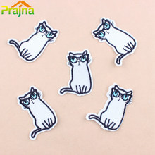 Prajna DIY Cute White Cat Animal Embroidered Patches Cartoon Iron On Patches For Clothing Logos Vest Pokemon Cheap Bordad Set C1