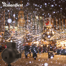 LED Snow Scene Projector Holiday Decoration Light Remote Control Rotating White Lawn Landscape Garden Snowfall Spotlight Lamp(China)