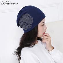 Autumn and winter 2017 Fashion New Women Knit Baggy Beanie Hat cotton Warm flower  Sleeve Head Cap for girl lady factory price