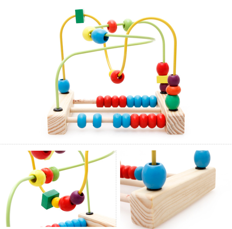 New Kid Classic Soft Montessori Wooden Bead Maze Toy Set with colorful bead early educational toy with colorbox gift for infant<br><br>Aliexpress