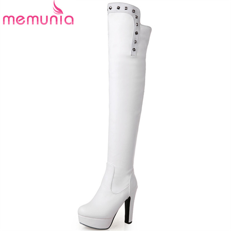 MEMUNIA Over the knee boots platform shoes woman autumn winter fashion boots female PU solid round toe big size 34-43<br>