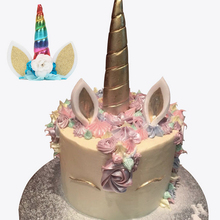 Big Unicorn Horns Cake Toppers Pick Unicorno Party Supplies Cartoon Kid Birthday Party Decorations Head Band With Strap(China)