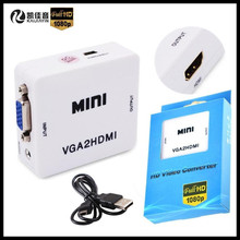 10p!Mini HD 1080P VGA To HDMI HD HDTV Video Converter Box Adapter with Audio,For PC Laptop to HDTV Projector,+USB Cable+Gift Box