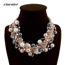Xiacaier Vintage Chokers Necklaces Women Simulated-pearl Gold Color Choker Necklace Bijoux Femme Statement Necklace Wedding Gift(China)