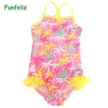 Girls Swimwear One Piece Swimsuit for Girl 2T-12T Cute baby girl bathing suit Yellow Tree Print Children swim wear