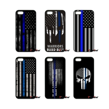 For Huawei P8 P9 Lite For LG Moto G3 G4 G5 G6 Plus Sony Xperia Z3 Z5 X XZ XA E5 Compact Thin Blue Line Flag Police Skull Case(China)