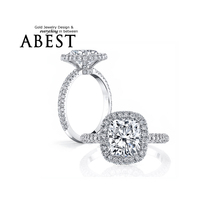 AINOUSHI Luxury 3 Carat Cushion Cut Halo Ring Finger SONA 925 Sterling Silver Engagement Wedding Band Ring for Women