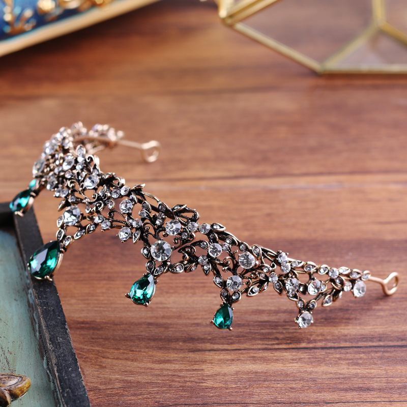 copper green crystal elegant bridal crown coroa de noiva boutique brides headwear wedding hair jewelry 3