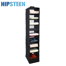 HIPSTEEN 9 Section Clothes Garment Organiser Storage Bags Rack Pocket Stand Holder Wardrobe Hanging Bag - Black(China)