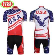 TVSSS 2017 New Men's Short Sleeve Bib Cycling Jerseys Set American Flag Bikes Suit Eagle Hawk Design Bibs Bicycle Clothing