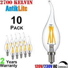 E12 Candelabra Screw Based CA11 LED Filament Edison Bulb 2/4/6 Watt 2200 K/Kelvin Vintage Filament Chandelier Light Bulb C11/C35