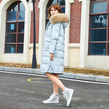 Russian Winter Luxury Large Fur Women Outwear Coat Duck Down Female Winter Coat Long Down Jacket European Thick Overcoat G158(China)