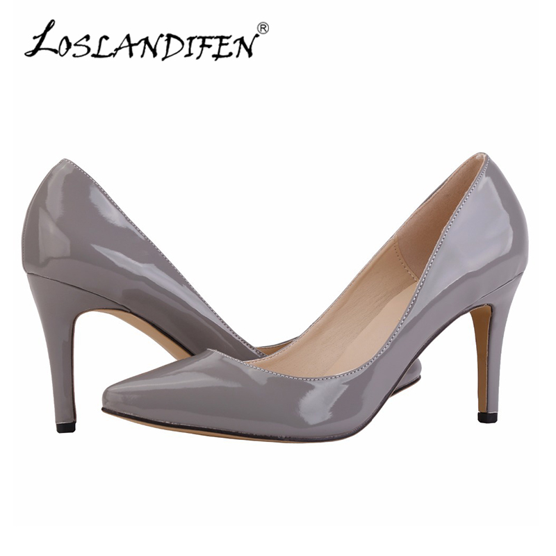 lady Women Patent Leather fashion MID high heels leopard print POINTED corset WORK PUMPS COURT SHOES US 4-11 952-1PA<br><br>Aliexpress