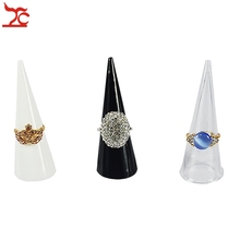 Retail 3Pcs Jewelry Display Holder Plastic Corn Finger Jewelry Ring Display Stands Holder Clear Black White For Choice(China)