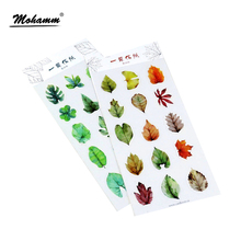2 Style Cute Mini Autumn And Spring Leaves Pvc Transparent Korean Stickers Papers Flakes Kids Decorative For Cards Stationery(China)