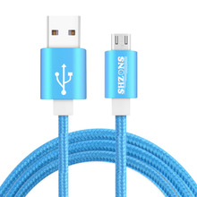 Hot Sale 1M 2.4A Metal Nylon Braided Micro USB Cable for Samsung Xiaomi Meizu Huawei HTC  Alloy Data Charging Cable Multi-color