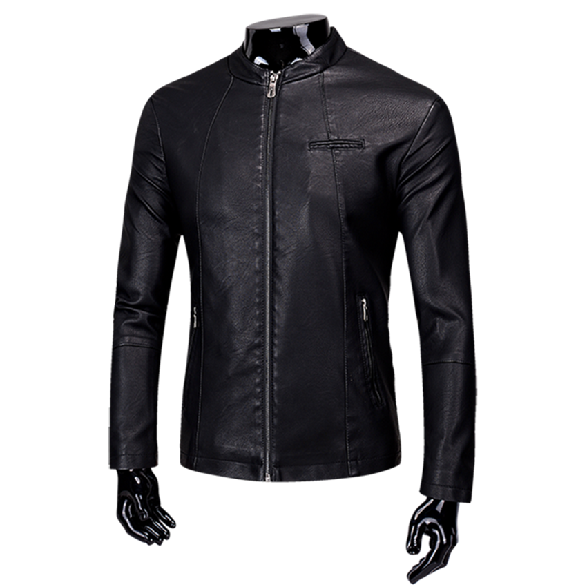 2018 Autumn New Pure Color Mens Leather Jacket Fashion Motorcycle PU Coat Men Youth S-3XL men Jacket