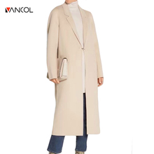 vancol fashion runway 2016 winter metal ring button beige casual designer jacket ladies long coat black x long wool coats women