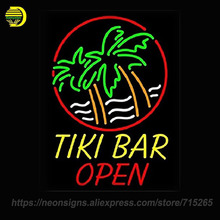 NEON SIGN For Tiki Bar Open Palm Tree Real Glass Tube Beer Bar PUB Handcrafted Free Design Artwork Great Gifts Night Lamp BRIGHT(China)