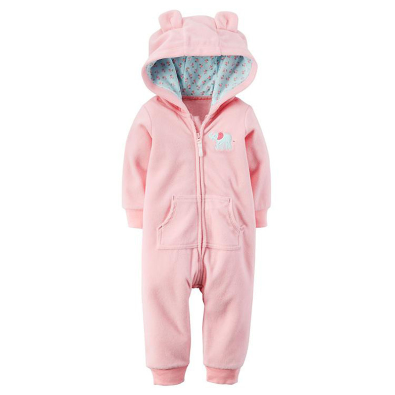 6-24M Baby Girls Boys Rompers Cotton Long Sleeved Fleece Baby Underwear Cartoon Lattice Hooded Coat Clothes Spring Autumn V30<br><br>Aliexpress