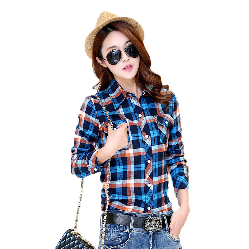2018 Autumn Winter Ladies Female Casual Cotton Lapel Long-Sleeve Plaid Shirt Women Slim Outerwear Blouse Tops Clothing(China)