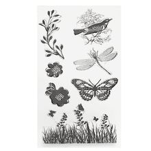 Silicone Butterfly Rubber Stamp Sheet Dragonfly Grass Transparent Stamp Set DIY Scrapbooking Album Card Decorative Craftwork