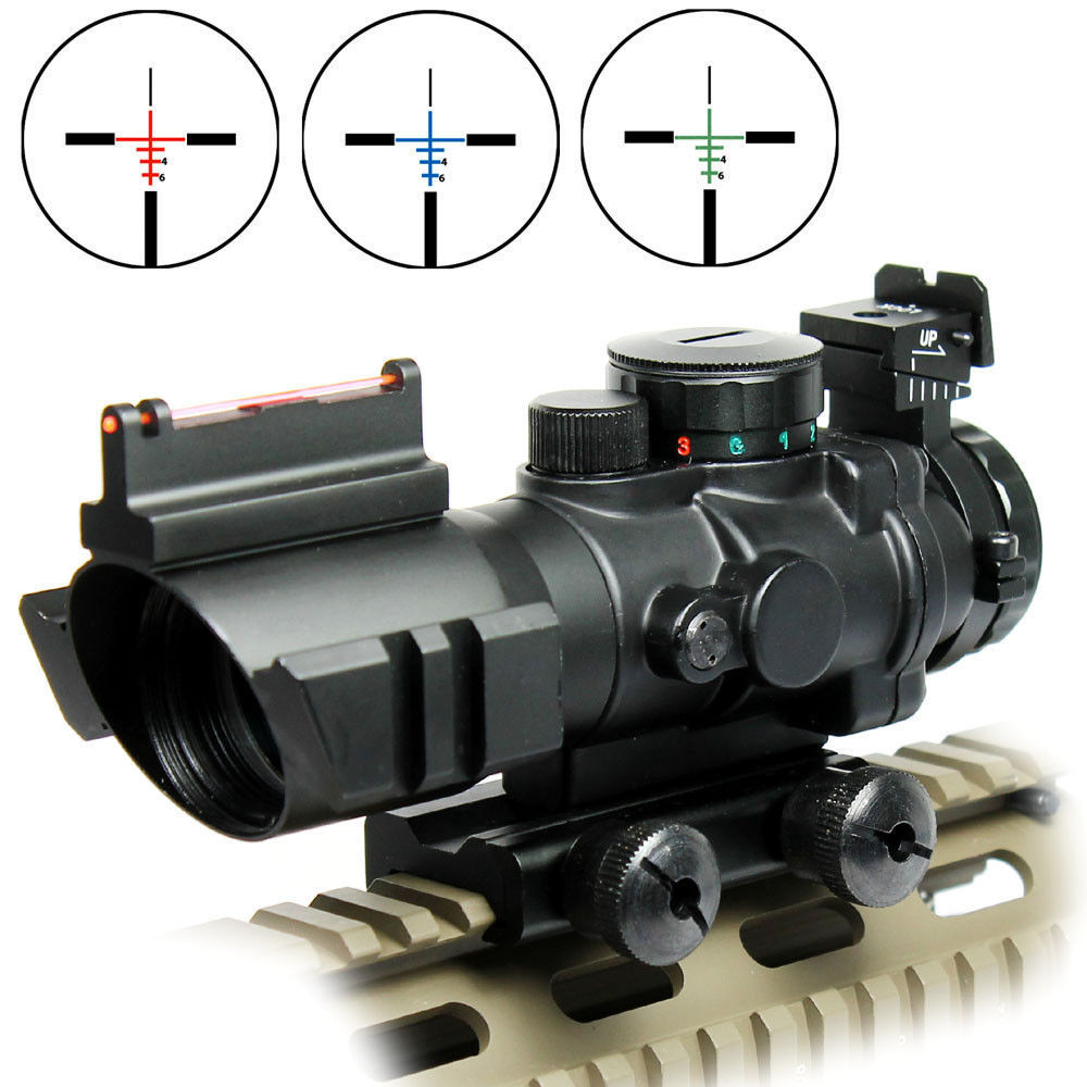 Hot 4X32 RGB Prismatic Rifle Scope with Fiber Optic Sight Tri-illuminated for Outdoor Hunting<br><br>Aliexpress