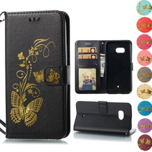 for HTC U11 case lucury Golden butterfly Leather Wallet Flip book Cover case for HTC U11 U 11 5.5 inch phone cases bags caso(China)