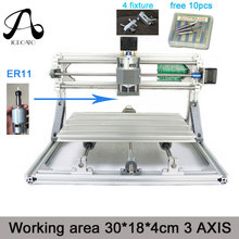 ICROATO Wood Router Engraver 3Axis PCB PVC Milling machine CNC 3018 GRBL control Diy CNC machine+4 Fixture+ER11