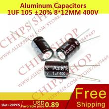1LOT=20PCS Aluminum Capacitors 1uF 105 20% 8*12mm 400V 1000nF 1000000pF Diameter8mm