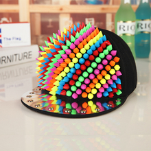 Unisex Spring Summer Colorful Rivet Baseball Caps Professional Punk Men's Studs Hiphop Hats Personality Baseball Cap(China)