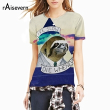 Raisevern New Fashion 3D T-shirt Sloth Motto T Shirt Live Slow Die Whenever Animal Brand Design Clothes Women Men 3d Tee Tops