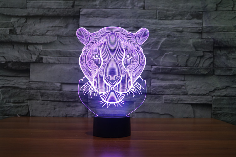 Lion Head 3D Glow LED Lamp Touch Switch Art Sculpture Lights Unique 7 Colors Lighting Effects and 3D Awesome Gift (7)