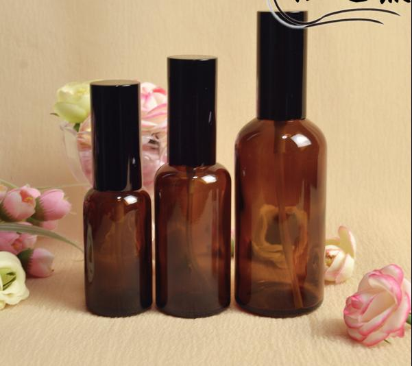 free shipping 30ml/50ml 4pcs/lot brown glass fine mist spray bottle,electrochemical aluminum nozzle and lid<br><br>Aliexpress