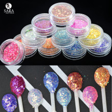 Nail Salon New Design Round Shape Nail Glitter Powder Dust 3D Nail Art Decoration Nail Art Bottle Tip Set DIY Tool SANC342