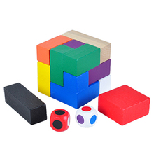 Multi-color Magic Cube Puzzle IQ Brain Teaser 3D Wooden Puzzles Game Toys for Adults Children(China)