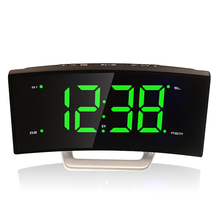LED dispaly big Digital radio double alarm clock electronic night lamp adjustment timer arc plastic Snooze Modern student bell(China)
