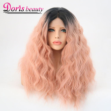 Doris Beauty Synthetic Ombre Pink Hair Wigs Lace Front Wigs High Temperature Fiber Sexy Cosplay Wigs 18 Inch Hair For Women(China)