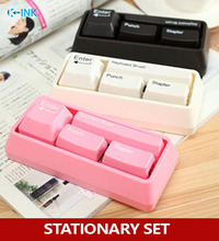 Novelty keyboard stationary set as office stationary supplies , stapler / puncher / keyboard brush / clip adsorption(China)