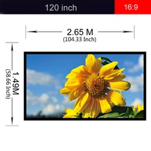 Fabric 120 inch 16:9 Projection Screen Portable Excelvan Folding 120 Matte White Projector Screen For Camping UNIC UC46 UC40(China)
