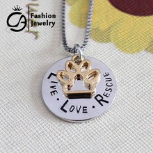 Wholesale Pet Lover Dog Paw Animal Live Love Rescue Charm Pendant Necklace Jewelry Gift 20Pcs/Lot #LN1139