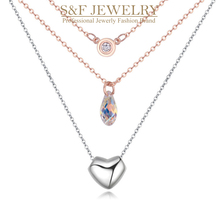 crystal from Swarovski jewelry supplier accept big order pendant necklace for women summer Double-deck necklace 19419