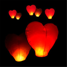 10Pcs Red Heart shape wedding air Balloons Sky Lanterns Chinese globos Wish  paper lanterns for party decorations