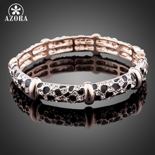 AZORA Brand Design Rose Gold Color Leopard with Rhinestones Bangle Bracelet TB0025(China)