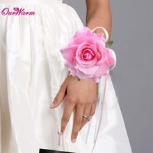 10pcs Wrist Artificial Flower Rose Silk Ribbon Bride Corsage Wedding party Decorative Wristband Bracelet Bridesmaid Curtain