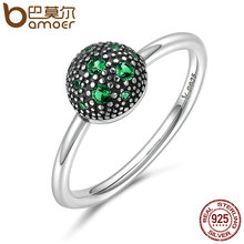 BAMOER Genuine 100% 925 Sterling Silver Round Green Sparking CZ Finger Rings for Women Sterling Silver Jewelry S925 Gift SCR138(China)