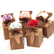 10pcs Creative Kraft DIY Vintage paper Candy Boxes Gift Bag with rose Flower Chocolate Packaging Party Wedding Decoration Favors(China)
