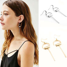 Vintage Simple Geometric Circle Drop Earrings Long Pin Dangle Earrings Jewelry 2B3011